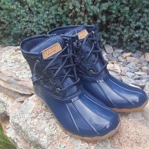 Sperry Saltwater Navy Quilted Duck Boots